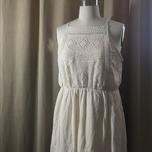 Cream rayon dress size L by Mossimo.